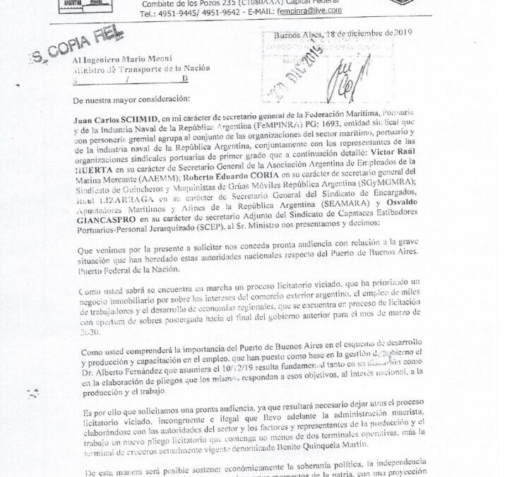 Nota presentada en el Ministerio de Transporte